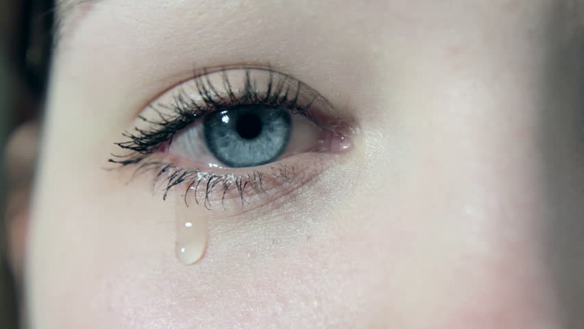tears in a female girl sad eye in 1080p