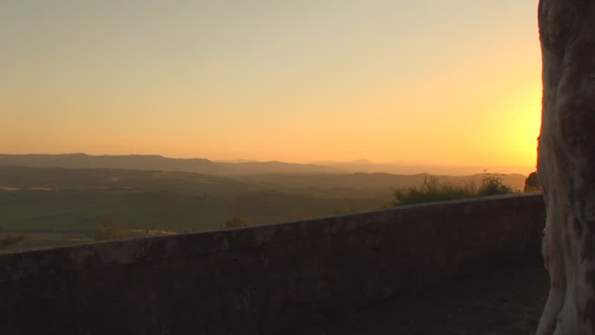 Sunset near the town of Pienza in the province of Siena in Tuscany, Italy