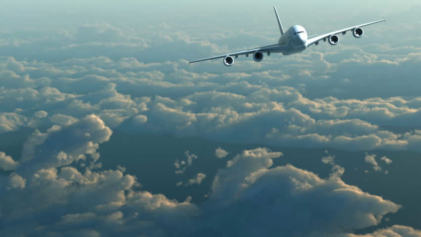 Plane flight against clouds