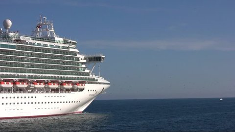 """ALICANTE, SPAIN - AUGUST 26: The cruise """"VENTURA"""" is leaving port. This ship has every imaginable onboard facility to ensure your holiday is truly out of this worl, on august 26, 2012 in Alicante."""