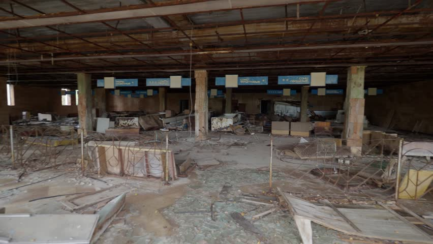 Destroyed supermarket in abandoned city Pripyat after Chernobyl catastrophe
