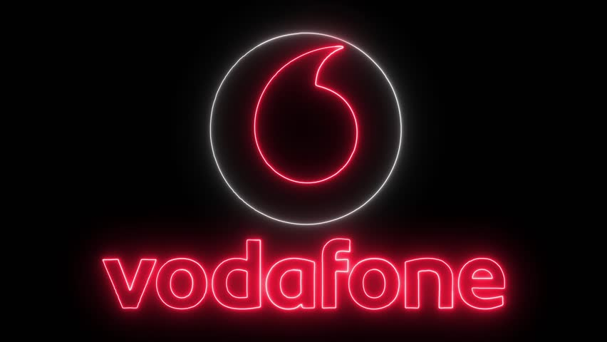 Vodafone Logo with Neon Lights. Stock Footage Video (100% ...