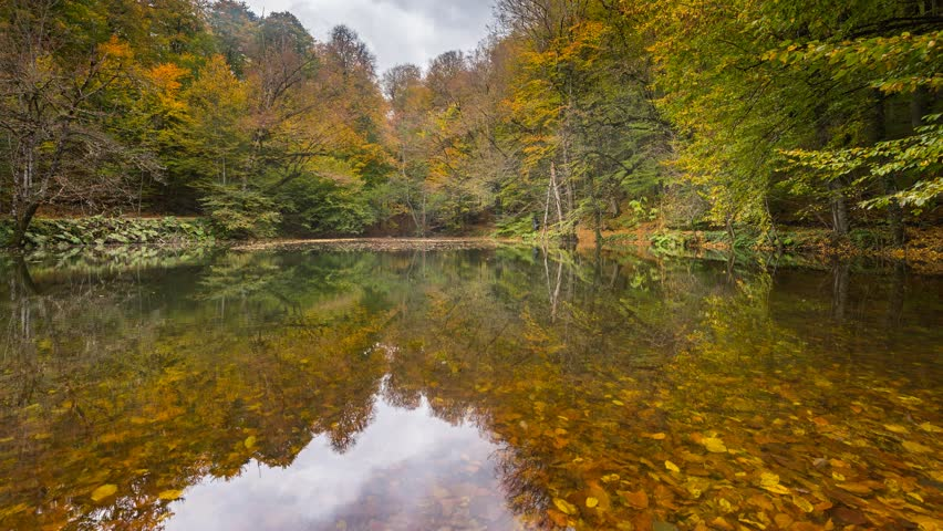 Misty Time Lapse with Great Autumn Colors and Reflections on the Lake