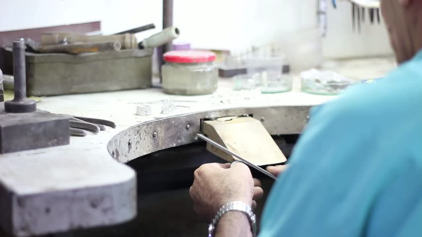 Soldering of silver, Manufacture of carved articles from silvers by hands, handwork on silver in Armenia, decoration of manual production of silverware.Armenian silver production, man worked in silver