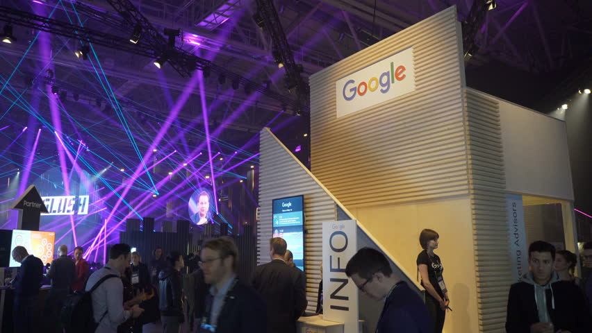 HELSINKI, FINLAND - NOVEMBER 30, 2017: The Google Pavilion at the Business Forum. Startup and tech event Slush in Messukeskus Expo center. Non-profit event for entrepreneurs, investors, students.