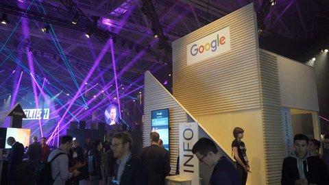 HELSINKI, FINLAND - NOVEMBER 30, 2017: The Google Pavilion at the Business Forum. Startup and tech event Slush in Messukeskus Expo center. Non-profit event for entrepreneurs, investors, students.