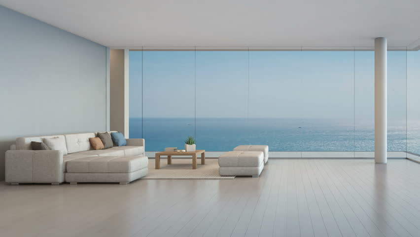 Large sofa on wooden floor near glass window with ocean and sky background at penthouse apartment, Lounge in sea view living room of modern luxury beach house or hotel - Home interior 3d illustration