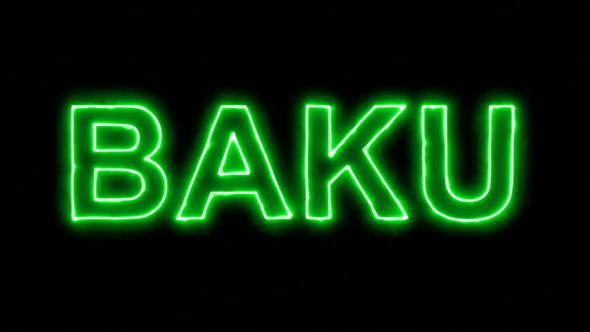 Neon flickering green capital name BAKU in the haze. Alpha channel Premultiplied - Matted with color black | Shutterstock HD Video #33820066