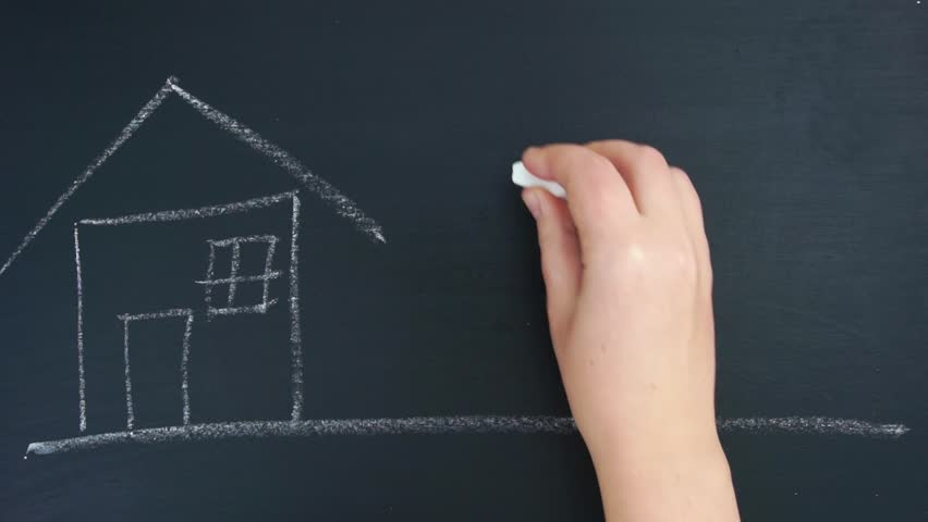 Writing and drawing concept house, happy family, sun on chalkboard. Wipe off the word board. Hyperlapse   Shutterstock HD Video #33833854