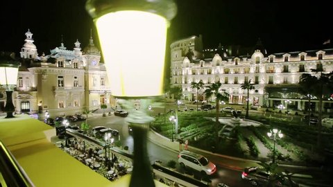 Monaco city town Monte Carlo night time-lapse port yahts