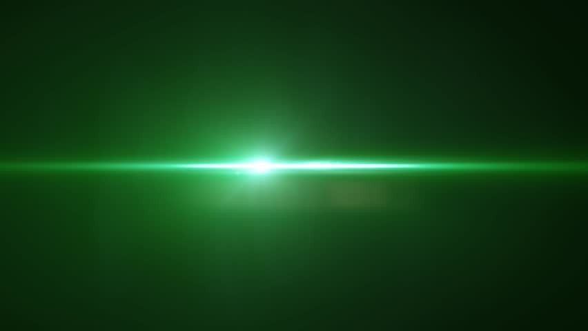 Bright Light With Lens Flare Moving. Green Background With