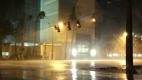 Street Lights Blown by Hurricane