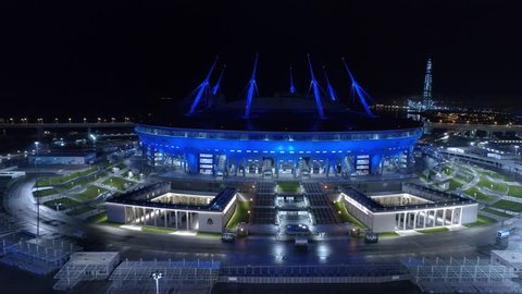 Saint Petersburg, Russia, September 30, 2017, Aerial video of Saint Petersburg stadium, also called Zenit Arena, 2018 FIFA World Cup, UEFA EURO 2020, night