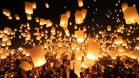 SANSAI, CHIANGMAI, THAILAND - NOV 24: Yee Peng Festival, Loy Krathong celebration with more than a thousand floating lanterns in Chiangmai, Thailand on November 24, 2012