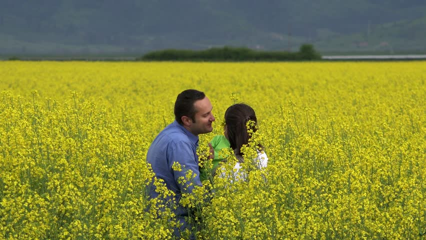Father hold son in his arms arrange a flower in mother hair, blossom rape field