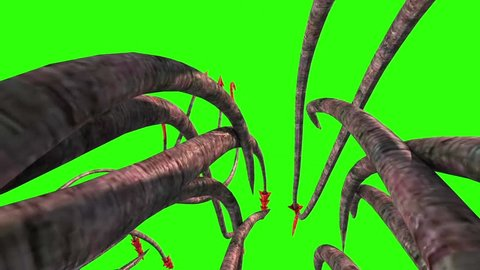 Monstrous Hooked Tentacles Back Green Screen 3D Rendering Animation
