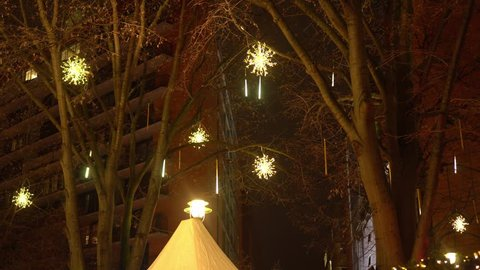 Christmas in Europe. Christmas decoration of the streets with lots of lights.