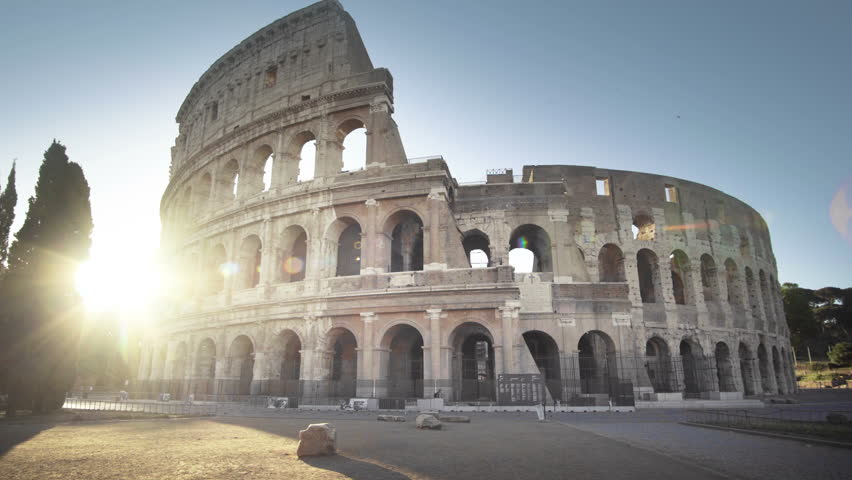 Colosseum in Rome and morning sun, Italy | Shutterstock HD Video #33952264