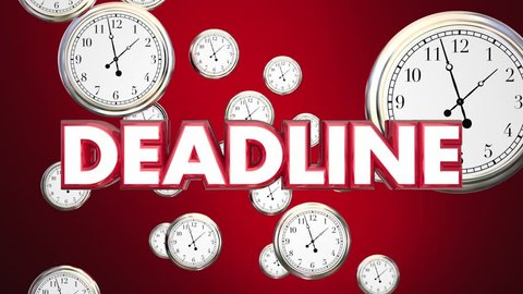 Deadline Clocks Falling End Time Final Call 3d Animation