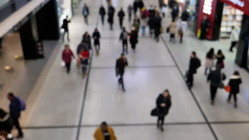 Retail christmas shoppers at manchester's Arndale shopping centre, circa december 2017 soft focus #33955444