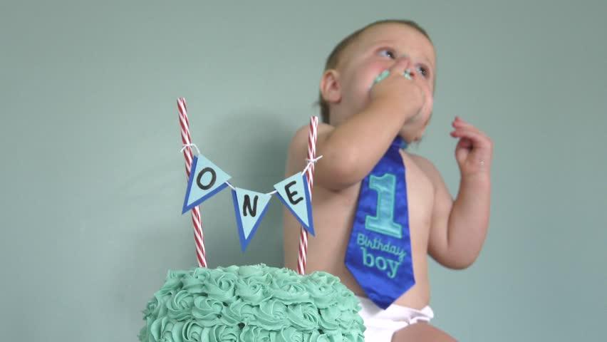 First Birthday Boy Cake Smash In Focus 4k