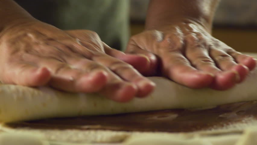 Rolling up sweet tortilla with chocolate & hazelnut cream #34003564