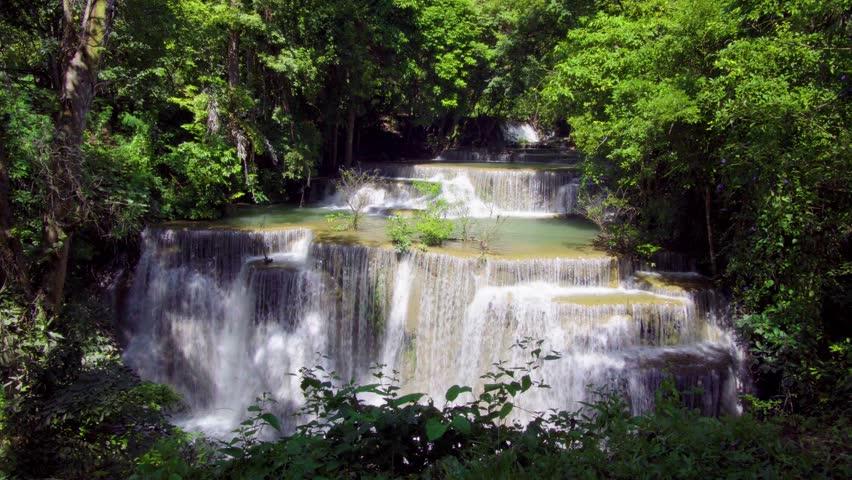 Waterfall beautiful in southeast asia. Huay Mae Kamin waterfall kanchanaburi Thailand. 4K Resolution