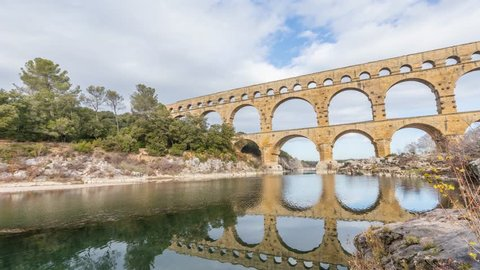 Pont du Gard - the highest of all preserved ancient roman aqueducts. It crosses the Gardon River near the town of Vers-Pont-du-Gard in southern France