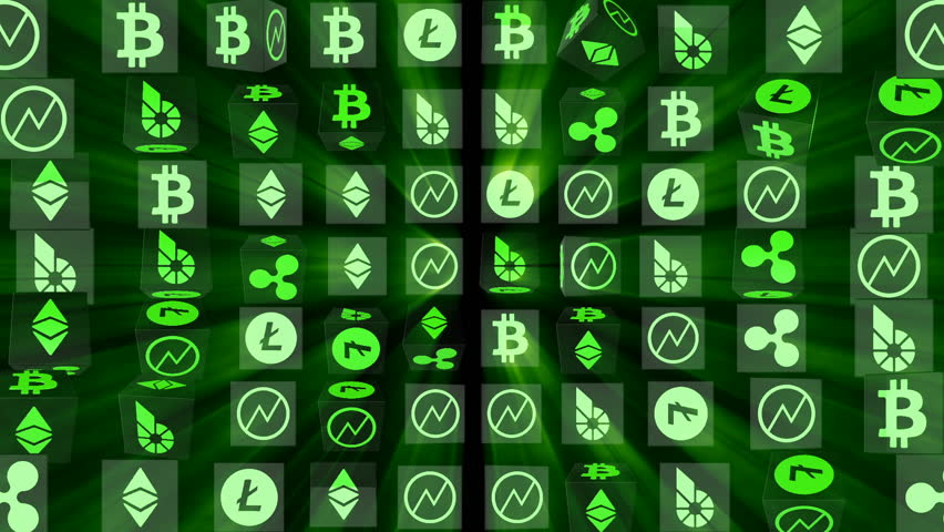 Vertical rotation of cubes with symbols. effect of radiance. icons of world crypto currencies. economic business background. seamless loop.