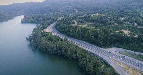 Aerial:Lexington Reservoir & Freeway from los gatos Silicon Valley, to Santa Cruz, USA