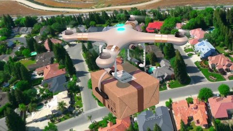 Quadcopter Delivering a Package on the City Seamless 3d Animation Modern Delivery Concept