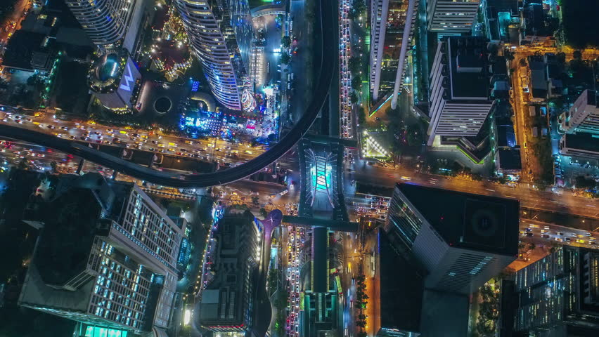 Time lapse,Hyperlapse ,Of traffic on city streets at night. Aerial view and top view of traffic on freeway, 4K. | Shutterstock HD Video #34057774