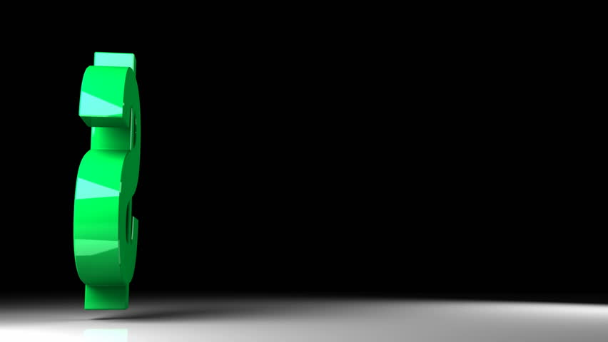 Green shiny dollar sign flying with rotation over black background. 3d render animation