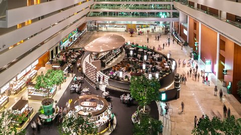 Timelapse View luxurious lobby interior of Marina Bay Sands Hotel in Singapore. August 2017