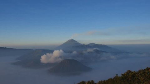 View of Bromo volcano, Mount Semeru and Mount Batok from Mount Penanjakan. East Java, Indonesia