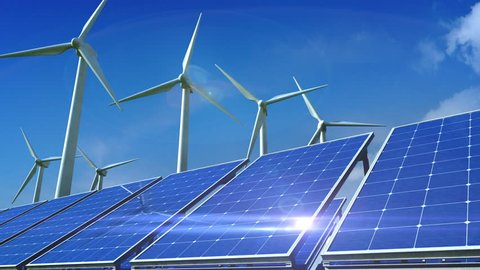 Power generation by wind turbines and solar panels.