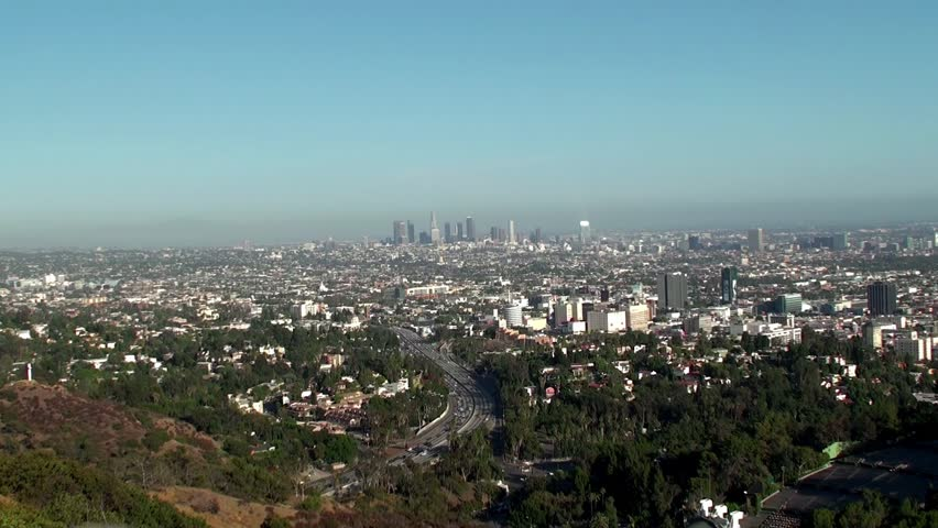 Panorama of Los Angeles as viewed from Mulholland Drive. (California, USA)