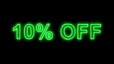 Neon flickering green sale tag 10% OFF in the haze. Alpha channel Premultiplied - Matted with color black