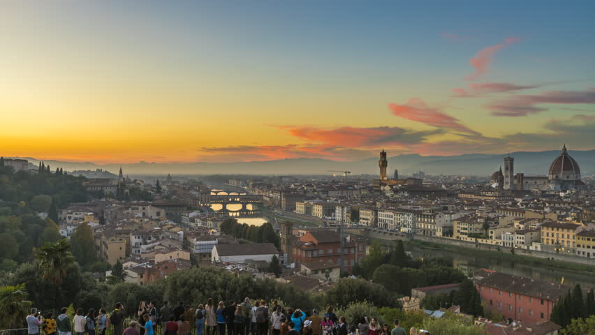 Florence City Panoramic view, skyline day to night timelapse video, aerial view, Italy. Aerial view from sky. | Shutterstock HD Video #34128244