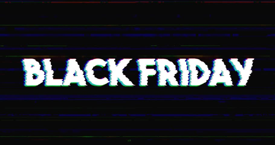 Glitch stile black friday advertisement banner on glitched black background loop with alpha mask.