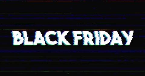 Glitch stile black friday advertisement banner on glitched black background loop with alpha mask.
