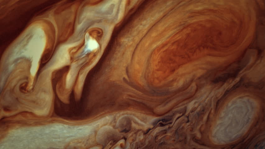 Jupiter's surface with a clear view of the Great Red Spot. (Elements furnished by NASA) | Shutterstock HD Video #34138534