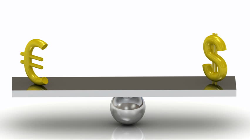 Balance of the Dollar and the Euro on the rocking polished board | Shutterstock HD Video #3416099