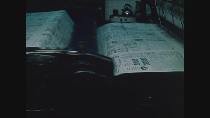 NEW YORK, 1971, Printing press printing Chinese newspaper in Chinatown