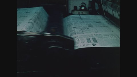 NEW YORK, 1971, Printing press printing Chinese newspaper in Chinatown