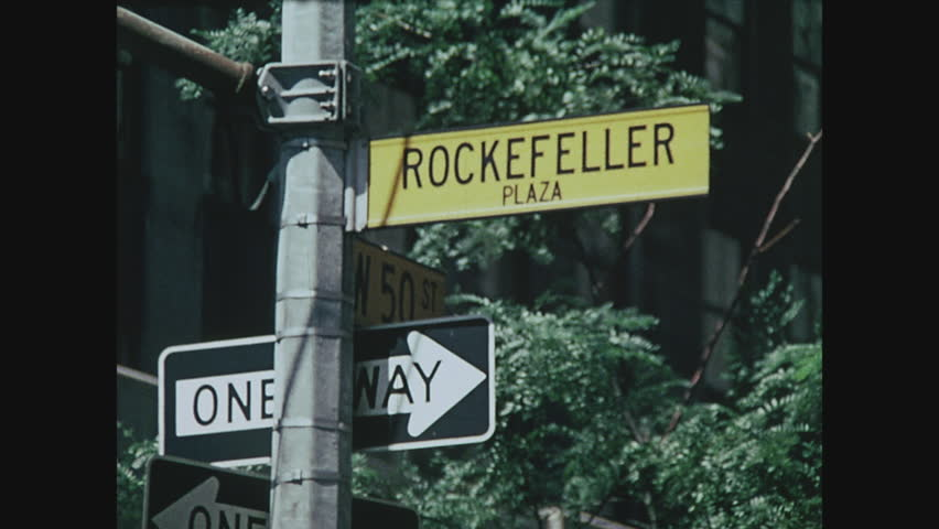 NEW YORK, 1971, Close up of Rockefeller Plaza sign at 50th Street, Rockefeller Center