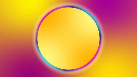 Gold yellow magenta background with spectrum color circle and radio signal waves. Expanding concentric circles radiating out from the center. Blur effect.