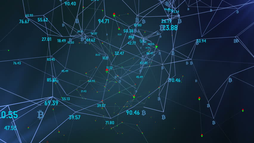 Interrelation of crypto currencies in the economic model, logo bitcoin. rotation in a circle. plexus network cinematic business background. seamless loop. | Shutterstock HD Video #34199644