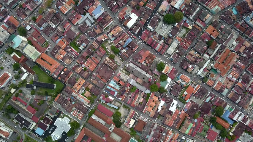 Aerial view of Georgetown, Penang, Malaysia from a drone