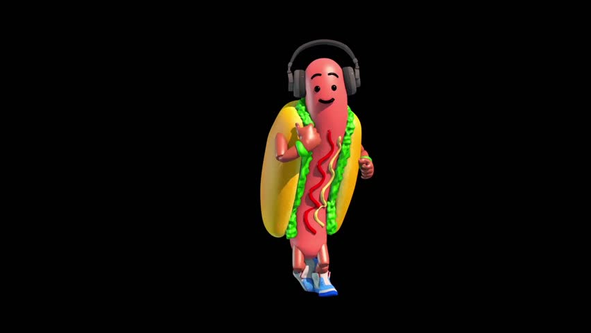 Part 4 Hot Dog Food Dance 3 Alpha Matte Shadow 3D Renderings Animations | Shutterstock HD Video #34204894